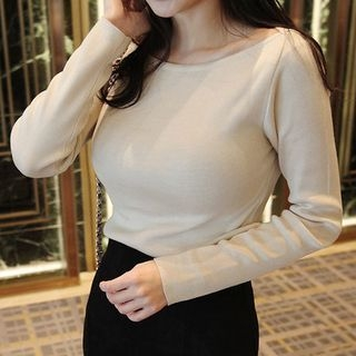 Boat-Neck Knit Top 1055552734