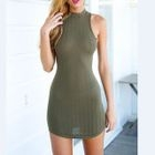 Cutout Back Ribbed Halter Bodycon Dress 1596