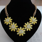 Rhinestone Flower Statement Necklace 1596