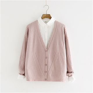 V-Neck Ribbed Cardigan 1053765209