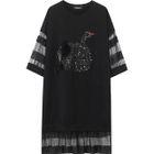 Sequined Black Swan T-Shirt Dress 1596