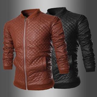 Faux Leather Plaid Biker Jacket 1045442198