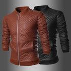 Faux Leather Plaid Biker Jacket 1596