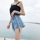 Lace Trim Ripped Denim Shorts 1596