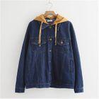 Image of Hooded Buttoned Denim Jacket Denim Jacket - Light Blue - One Size
