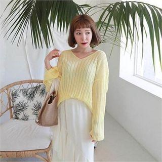 V-Neck Drop-Shoulder Ribbed Sweater 1066122828