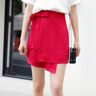 Miahynn Lace Up Wrapped A-Line Skirt
