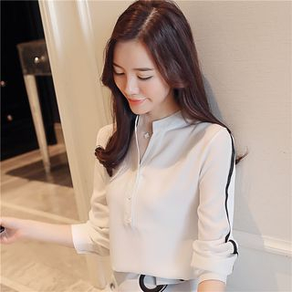 Contrast Trim Chiffon Shirt 1065299143