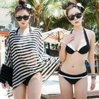 Set: Striped Top + Contrast-Trim Bikini 1596