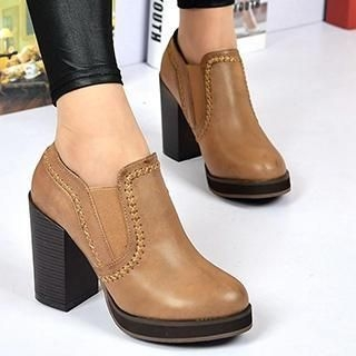 Stitched Chunky Heel Ankle Boots