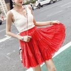 Set: V-Neck Sleeveless Knit Top + A-Line Skirt 1596