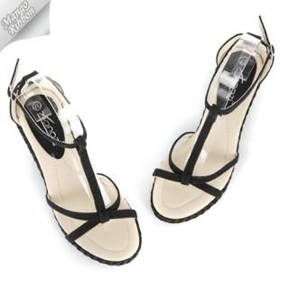 Picture of Mango Ribbon T-Strap Wedge Sandals 1022971131 (Sandals, Mango Ribbon Shoes, Korea Shoes, Womens Shoes, Womens Sandals)