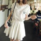 Set: Short-Sleeve Embroidered T-Shirt + A-line Dress 1596