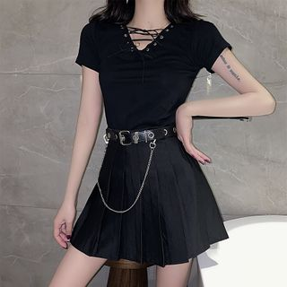 Image of Lace-Up Short-Sleeve T-Shirt / Mini A-Line Skirt / Chained Belt