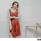 U Neck Tie-Waist Pinafore Dress 1596