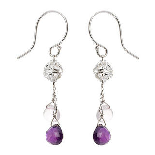 Silver, amethyst, pink amethyst earrings - United states