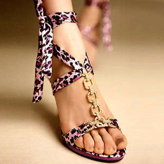 Buy Kvoll Diamante Leopard Print Tie Sandals 1022654507