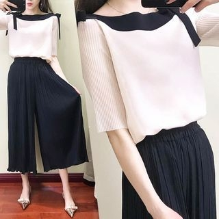 Set: Color Block Short-Sleeve Blouse + Pleated Wide Leg Pants 1065808290