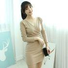 Wrap-Front Ribbed Mini Dress 1596