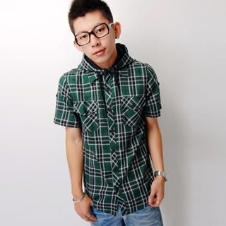 Buy SLOWTOWN Tab-Sleeve Hooded Plaid Shirt 1023012436
