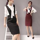 Set : Ribbon Long-Sleeve Blouse + Sleeveless Dress 1596