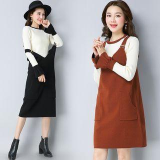 Set: Contrast Trim Long Sleeve Knit Top + Pinafore Knit Dress 1061966077