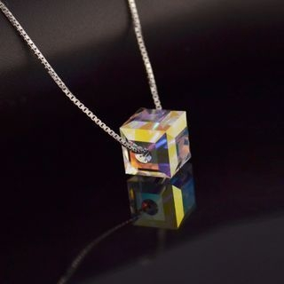 Sterling Silver Square Crystal Pendant Necklace