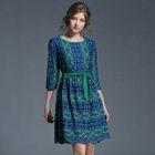 Printed 3/4-Sleeve A-Line Dress 1596