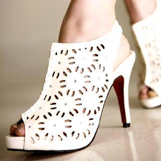 Buy Kvoll Perforated Peep-Toe Platform Heels 1022740867