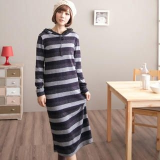 Striped Hooded Knit Midi Dress