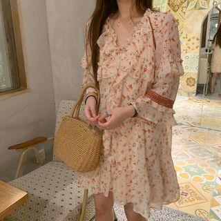 Chiffon | Figure | Ruffle | Floral | Dress | Mini | Size | One