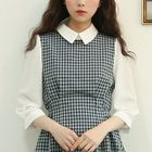Inset Blouse Tie-Waist Plaid Dress 1596