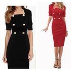 Elbow-Sleeve Buttoned Sheath Dress 1596
