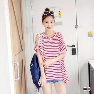 Striped Cutaway-Shoulder Top 1053346884