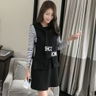 Set: Striped T-Shirt + Hooded Pinafore Dress 1596