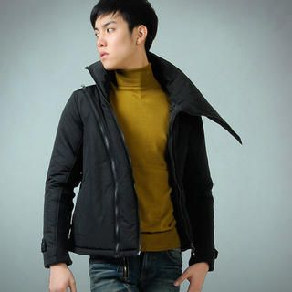 Picture of deepstyle High-Neck Asymmetric Zip Padded Jacket 1021643249 (deepstyle, Mens Outerwear, Korea)