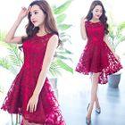 Sleeveless Lace Mini Prom Dress 1596