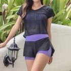Set: Tankini Top + Swim Shorts + Short-Sleeve Mesh Top 1596