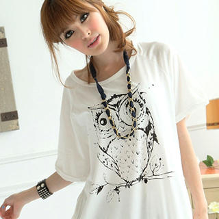 "Buy eFashion Short-Sleeve Loose-Fit ""Owl"" T-Shirt 1022977305"