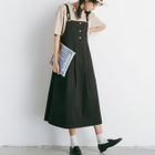 Plain Pinafore Midi Dress 1596