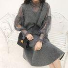 Set: Sleeveless V-Neck Dress + Balloon-Sleeve Faux Pearl Chiffon Top 1596