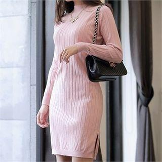 Mock-Neck Ribbed Knit Dress 1057351246