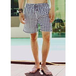 Drawstring-Waist Houndstooth Swim Shorts