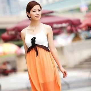 Buy Aza Flower-Accent Ruffle Panel Sundress Orange – One Size 1022931467