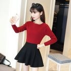 Round Neck Raglan Ribbed Sweater 1596