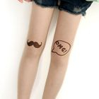 "Mustache & ""OMG"" Print Tights Nude - One Size 1596"
