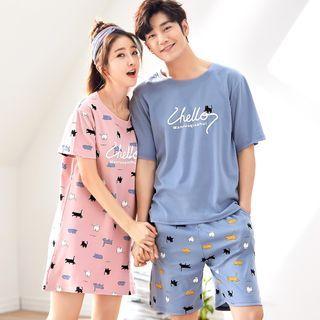 Image of Couple Matching Short-Sleeve Cat Print Lounge T-Shirt / Lounge Shorts / Sleep Dress / Set