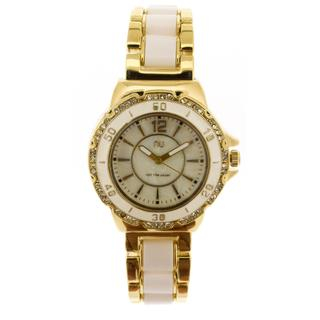 Crystal Covered Wrist Watch Gold & White - One Size 1035160405