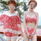 Set: Printed Tankini + Cutout Shoulder Top + Swim Shorts 1596