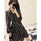 Long-Sleeve Striped Dress 1596